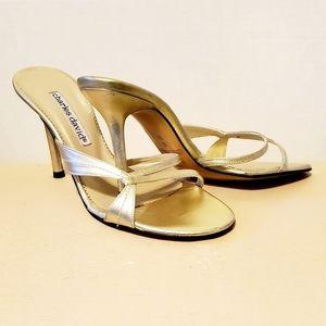 Charles David Stiletto Heel Gold Sandals Size 6